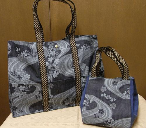 デニムジャカード・桜流水のバッグ