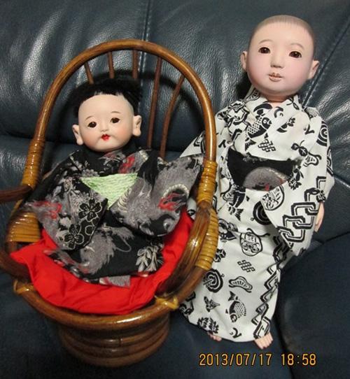 市松人形の浴衣