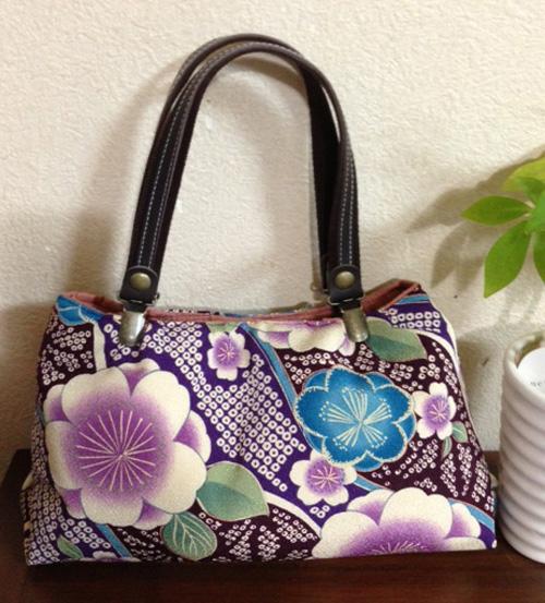 斜め取たてわく桜(紫)で上品バッグ
