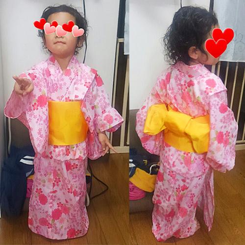 女の子の浴衣・桜と蝶々柄