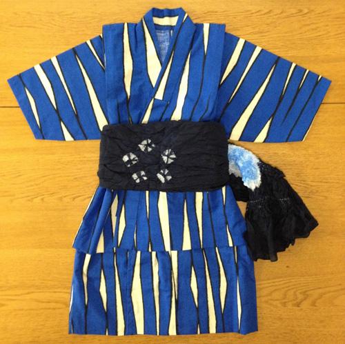 ゼブラ(青)生地で浴衣